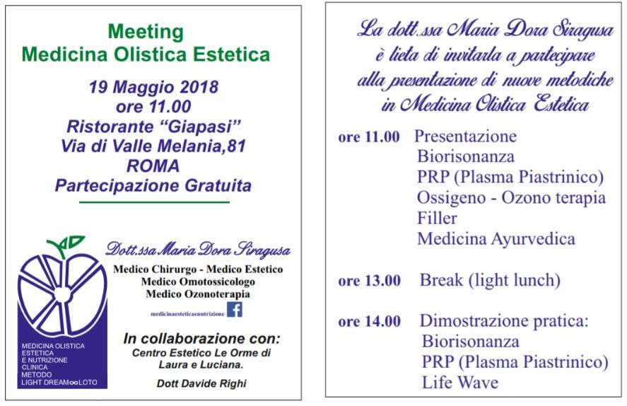 Meeting Medicina Olistica Estetica Dott.ssa Maria Dora Siragusa